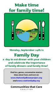 flyer announcing Family Day with image of plate and fork and links to resources (links are in the post)
