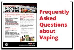 "front of brochure with the words ""Frequently Asked Questions about Vaping"" in red alongside"
