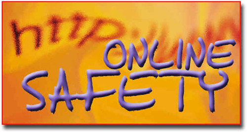 Orange background with fuzzy letters of a web address with the words Online Safety in purple