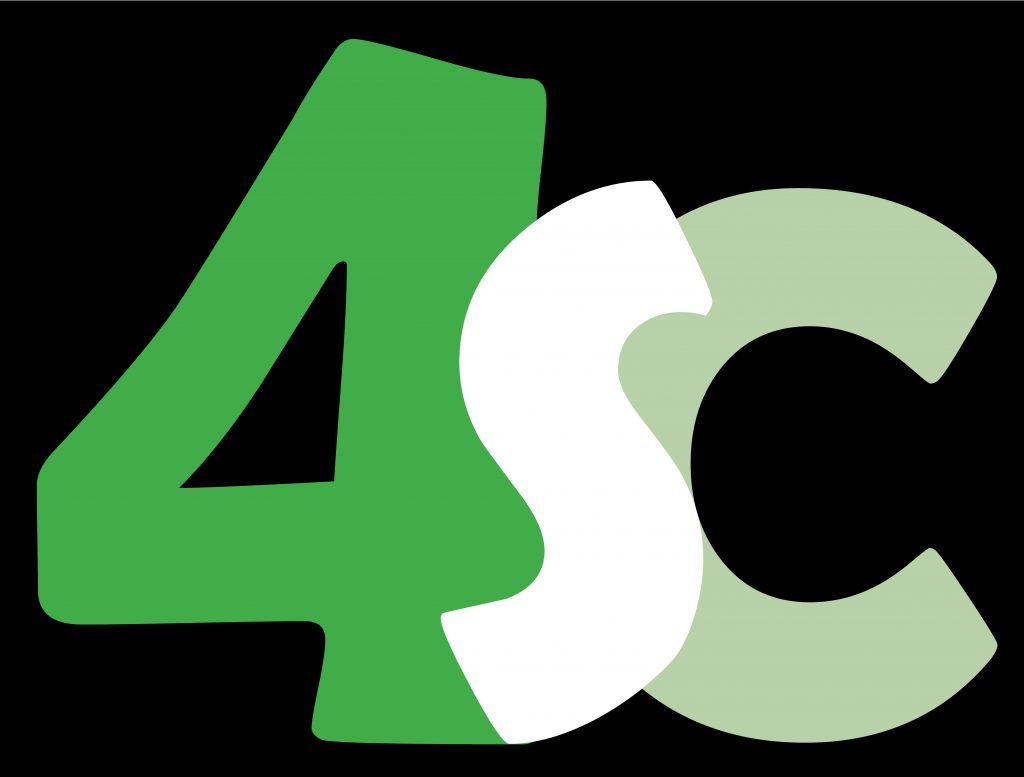 Logo for 4SC Coalition -  bright green 4 on left, white S in middle and light green C on right, all connected and on black square background