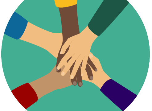 cartoon of hands coming together in the middle of circle, signifying collaboration