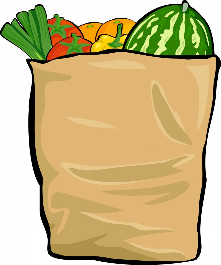 picture of grocery bag with fruits and veggies