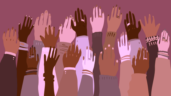 Hands of different shades of brown raising meant to symbolize working towards racial equity