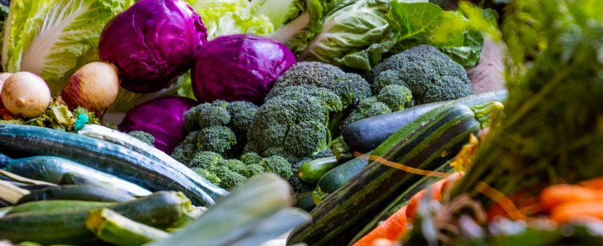 Photo of assorted vegetables: zucchini, purple cabbage, and greens.
